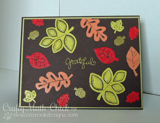 Embossed Leaves Fall Card by Crafty Math-Chick  for Newton's Nook Designs | Falling into Autumn Stamp Set