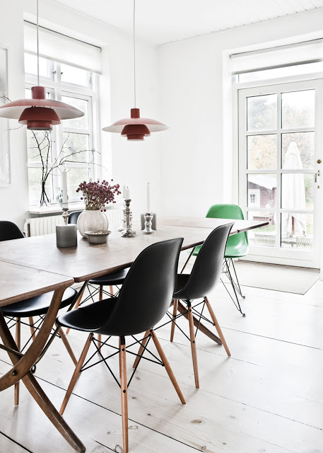 EAMES black and wooden chairs
