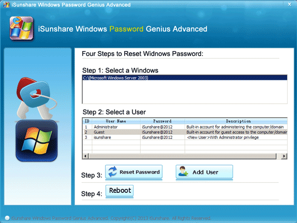 windows server 2003 password reset