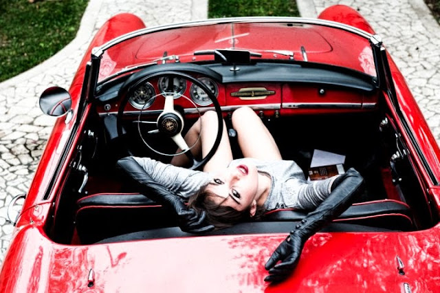 vintage car and girl