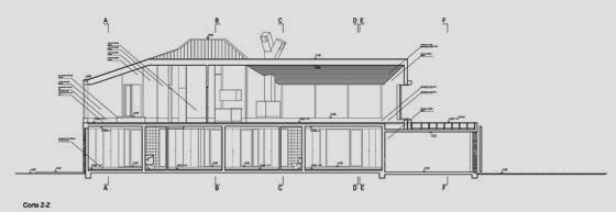 Plano de arquitectura muestra un corte de la casa