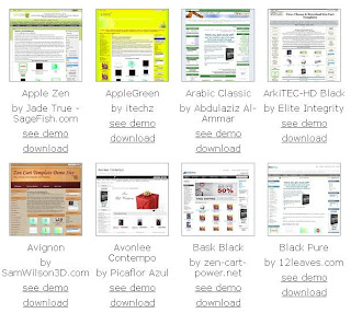 a selection of free Zen Cart templates from zencarttemplates.info