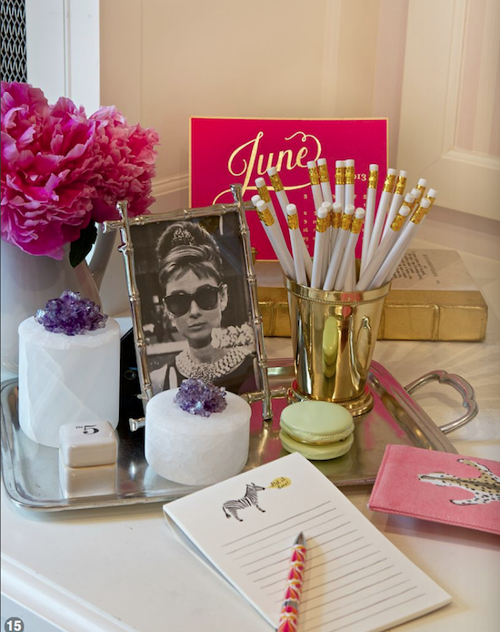 peonies and mint julep cup, Audrey Hepburn in bamboo frame