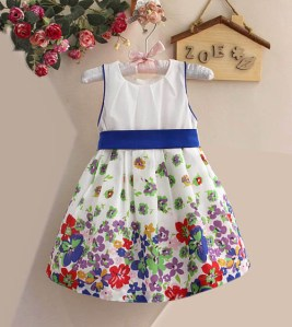 tie belt flowers dress blue belt sz 9m 5t 6pcs100rb ibu meta 0813 99 80 6283 Model Baju Dress Anak Perempuan 2014