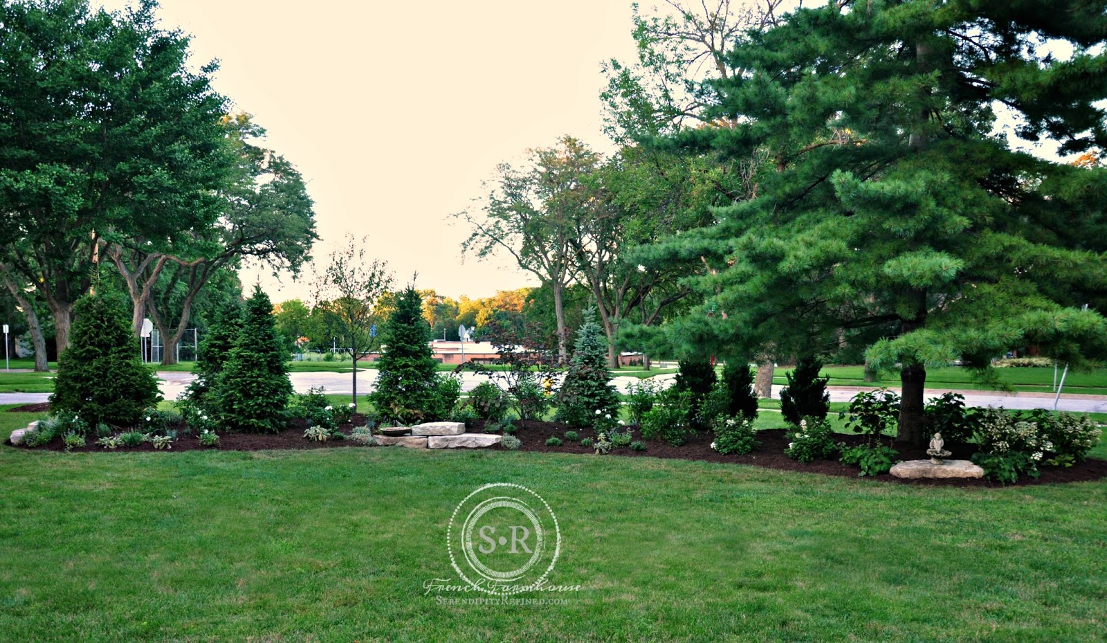 Serendipity refined blog how to landscape a corner lot for Corner lot landscaping pictures