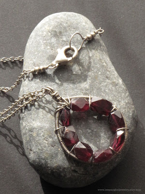 antiqued wire wrapped sterling silver garnet handmade artisan necklace