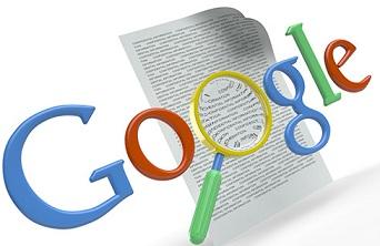 Ilustração de rastreamento do Google: logo acima de uma página com conteúdos.