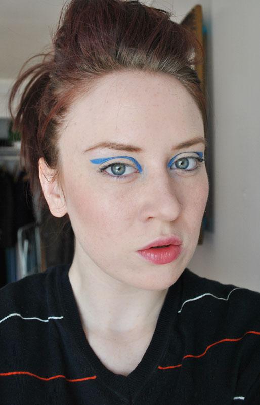 makeup photo a day, daily makeup, blue graphic crease, runway eyeshadow, Michael Kors spring 2012 runway makeup
