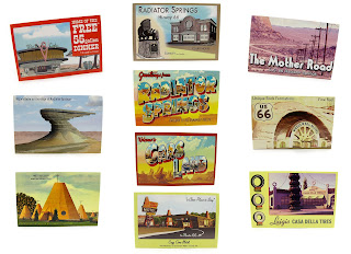 pixar cars postcards