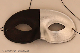 Bicolore Black & Silver Masquerade Ball Mask from Theatrical Threads Ltd