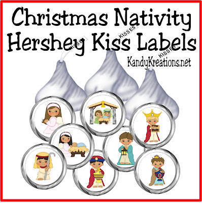 Dress up your Hershey Kisses for christmas with these cute Christmas nativity kiss labels.  Add them to the chocolate treats and give as a neighbor gift or sweet treat to your favorite friends.