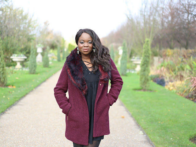 BURGUNDY FUR COAT