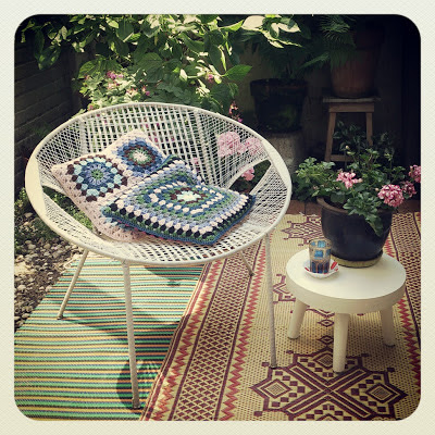 ByHaafner, thrifted stool, crochet, granny square, cushions, terrace