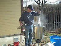 Dave homebrewing at home