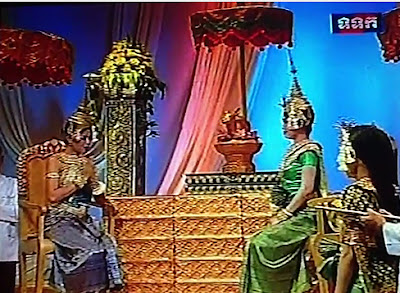 Khmer New Year play on Cambodian television, new year and last year's goddesses speak, rabbit still here