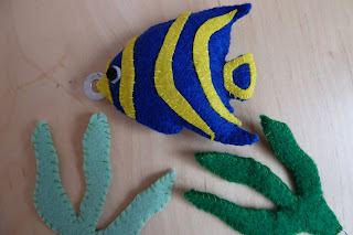 Felt angelfish and seaweed