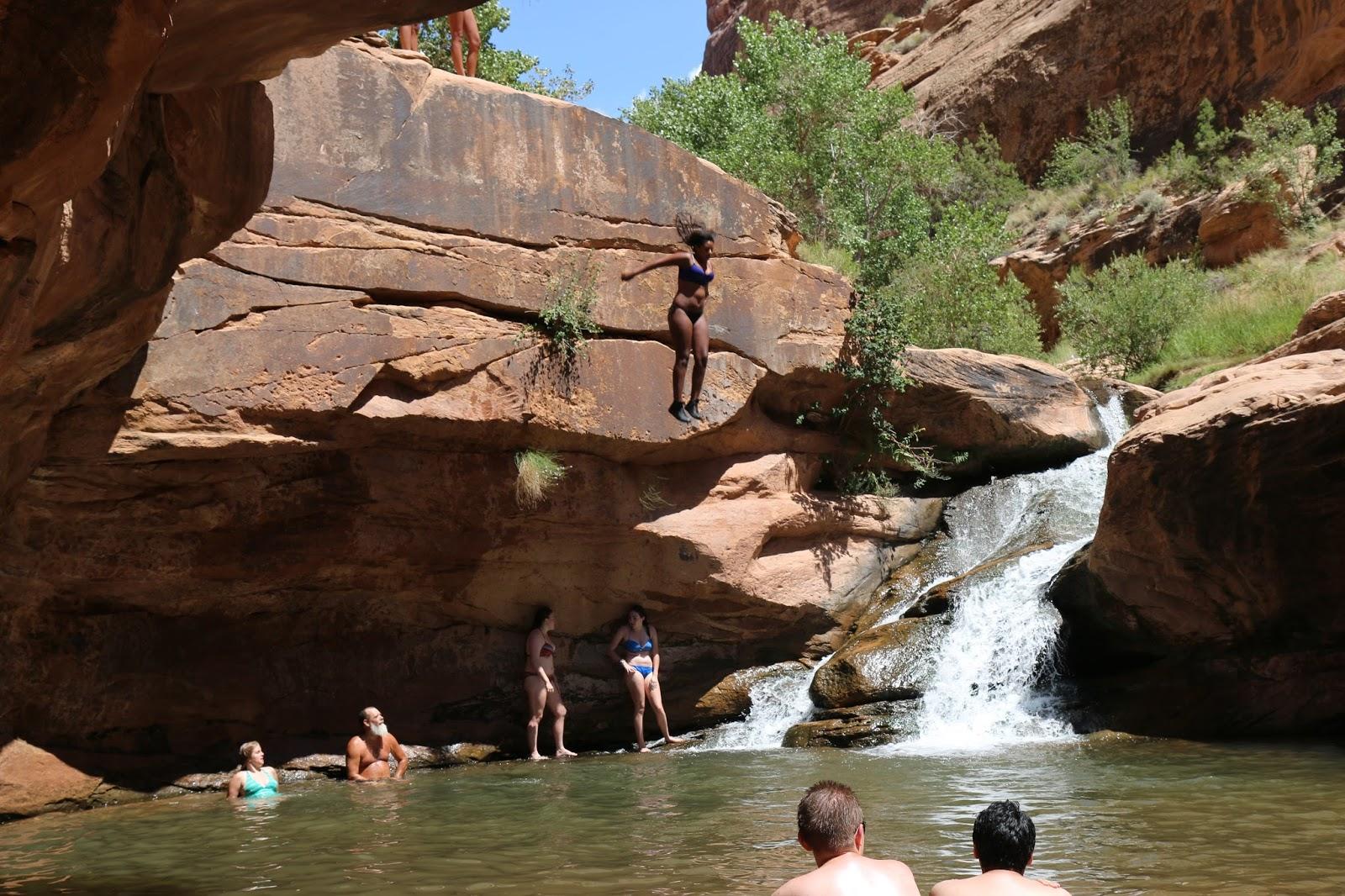 Bridal Veil Falls Mountain Waterfall Friends Hiking In Water Hd 1001 607 Foot Tall Double Cataract Provo Canyon Utah