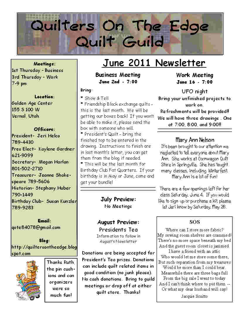 Quilt Guild Newsletter Ideas : Quilters On The Edge Quilt Guild: June Newsletter