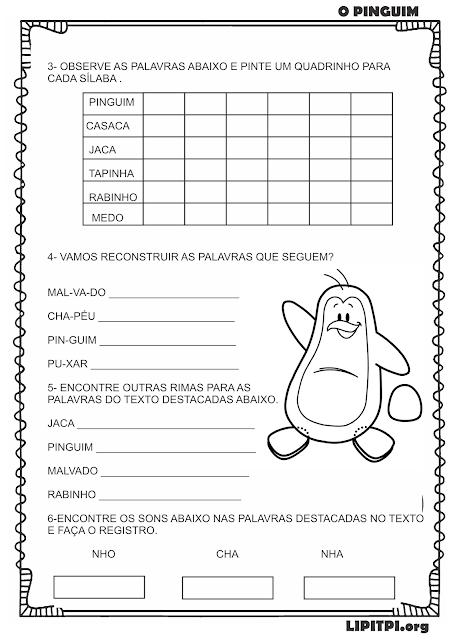 Atividade Poema e Consciência Fonológica O Pinguim Vinicius de Moraes