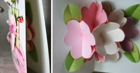 Объёмные цветы из бумаги для открытки своими руками 1077
