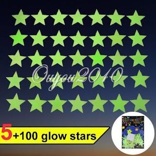 100X Glow In The Dark Plastic Stars Stickers Baby Kids Ceiling Wall Room Nursery