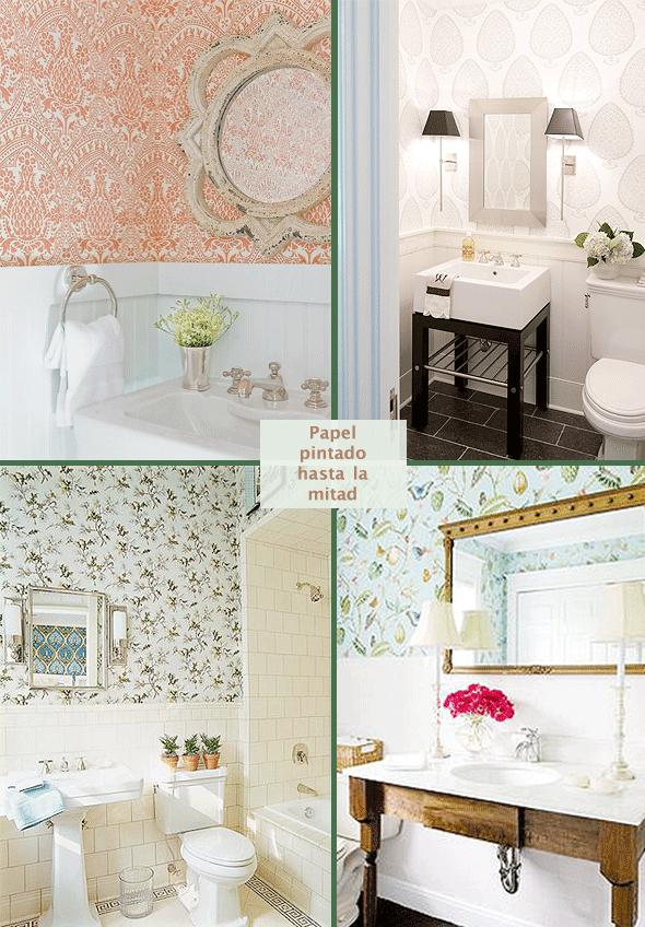 Ideas de decoraci n papel pintado en el ba o meu canto blog - Papel pintado en banos ...