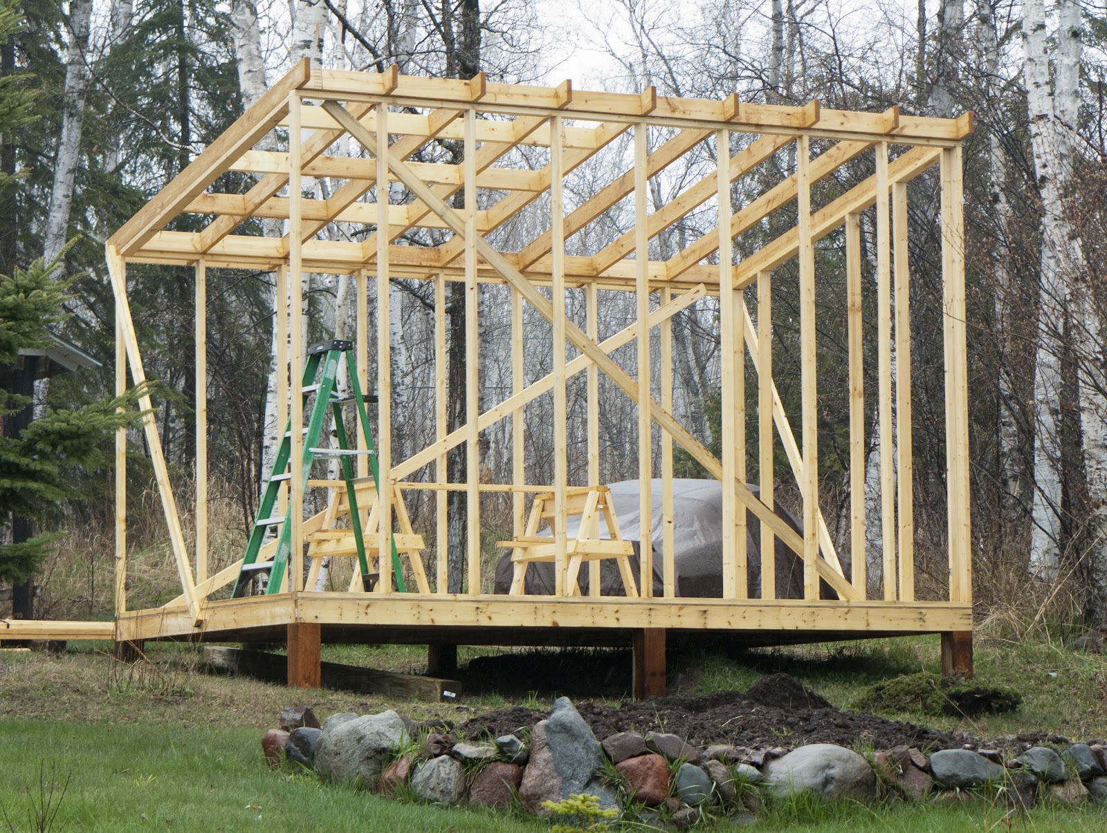 Shed roof framework