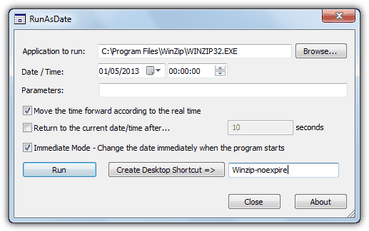 RunAsDate - Run a program with the specified date/time