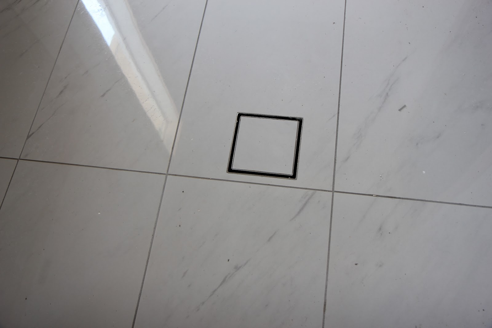 White Tile Grey Grout with Light