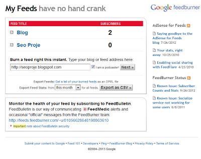 FeedBurner Blog Ekleme ve Besleme Adresi Oluşturma 1