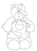 desenho de ursinho com taco e bola de baseball
