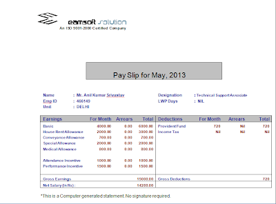 Below is an example of Salary Slip/ Pay Slip format of Technical