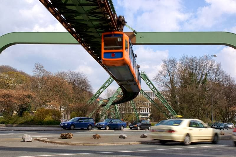 Schwebebahn Wuppertal Suspension Railway  - 3.3 kilometers above the streets of the city at a height of  about 8 meters