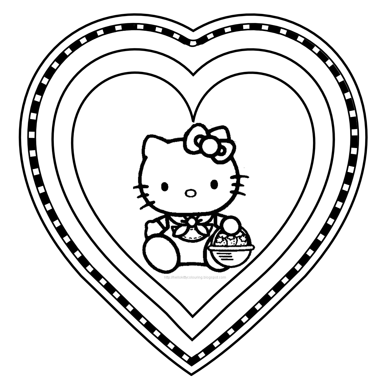 Hello kitty coloring pages for Saint valentine coloring page