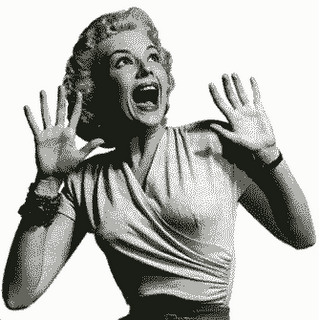 Mulher assustada a gritar