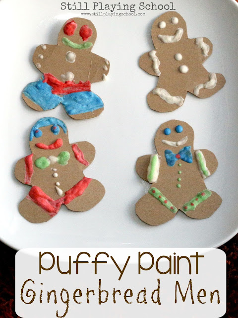 Kids can decorate gingerbread men cookies as a Christmas craft with microwave puffy paint!