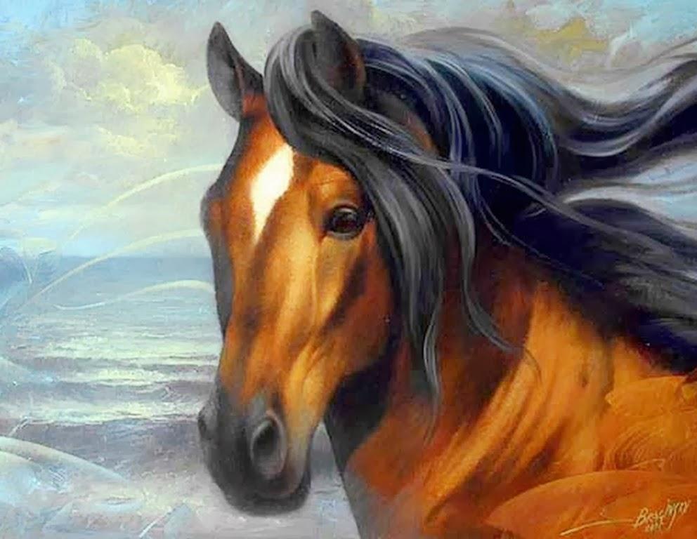 Cuadros modernos cuadros de caballos del pintor arthur for Cuadros pintados al oleo