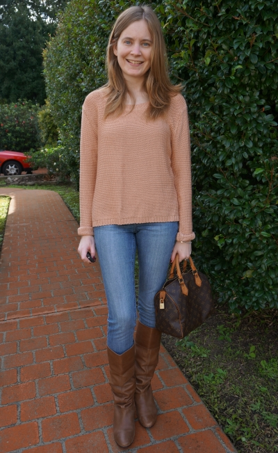 Away From Blue OOTD skinny jeans boots peach knit jumper LV speedy
