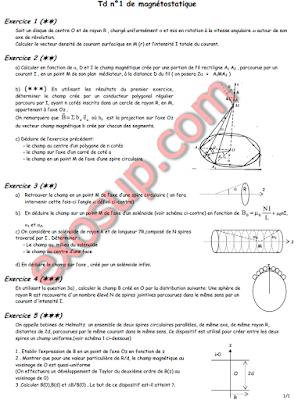 Electromagnétisme Exercices d'application