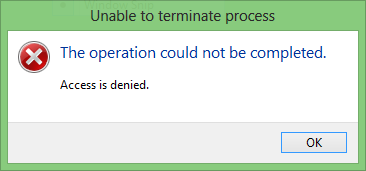 Unable To Terminate Process