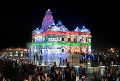 Night vision of Jagadguru Kripaluji Maharaj's Prem Mandir in Vrindavan