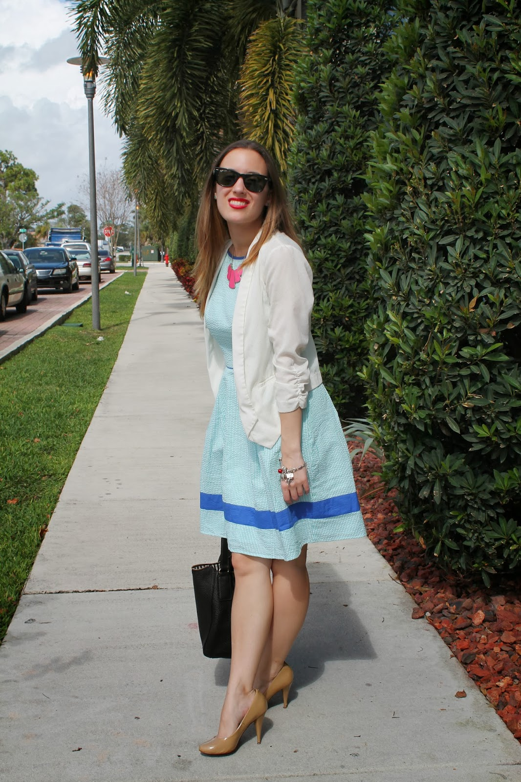 preppy, southern, miami, fashion blog, classic, seersucker, Jessica Simpson, Ray-Ban, Nordstrom, what i wore, look book