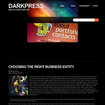 DarkPress blog template. download blogger template for personal blogs