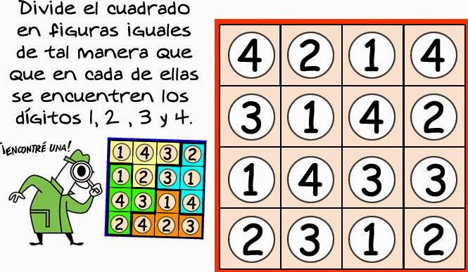 Números encasillados, Dividir el cuadrado en figuras iguales, Matemática recreativa
