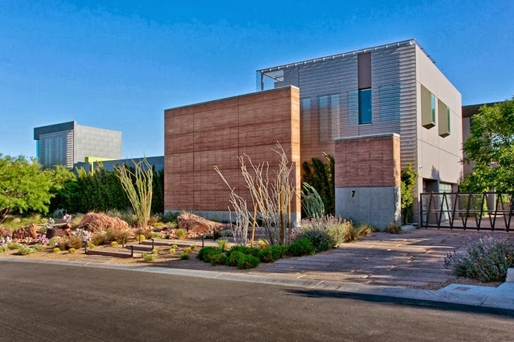 Street facade of Multimillion modern dream home in Las Vegas