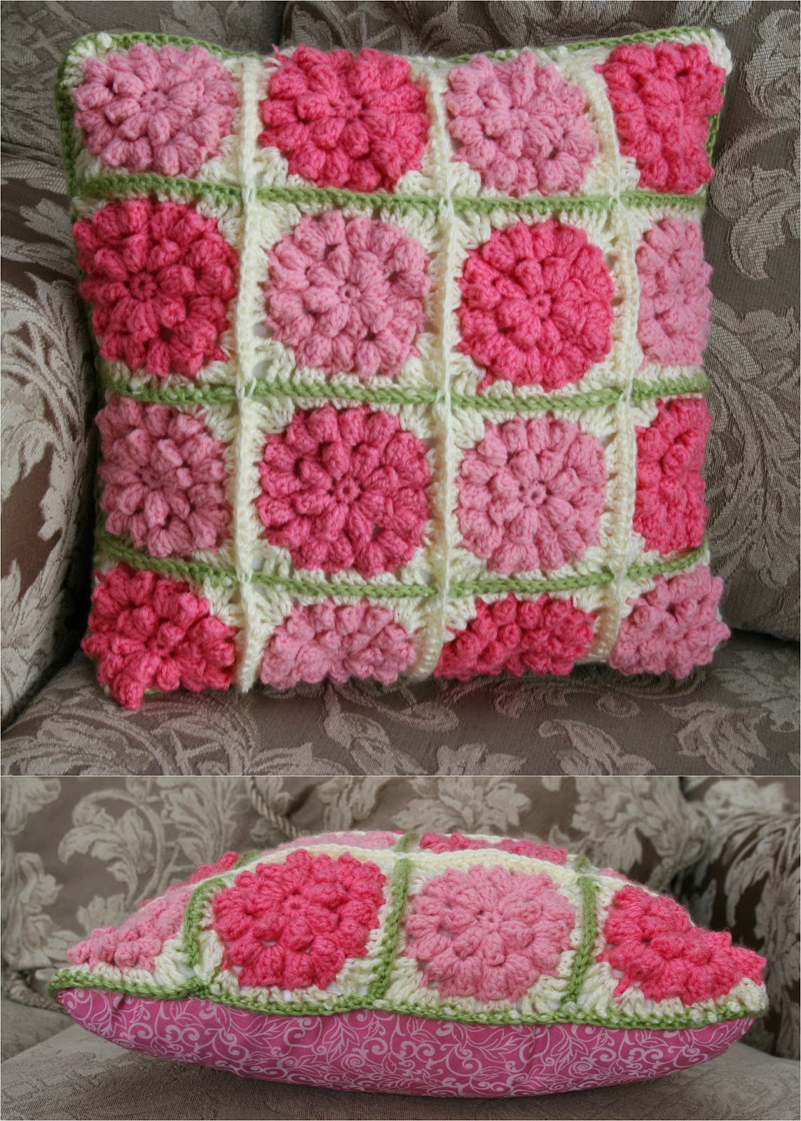 Crochet Pattern Granny Square With Flower : just between you and me: Crochet: Granny Square Flower Pillow