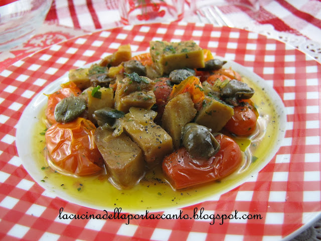 spezzatino di seitan con pomodorini e capperi  / stew seitan with tomatoes and capers