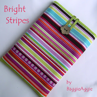 Striped padded and lined designer Kindle case, made to order.