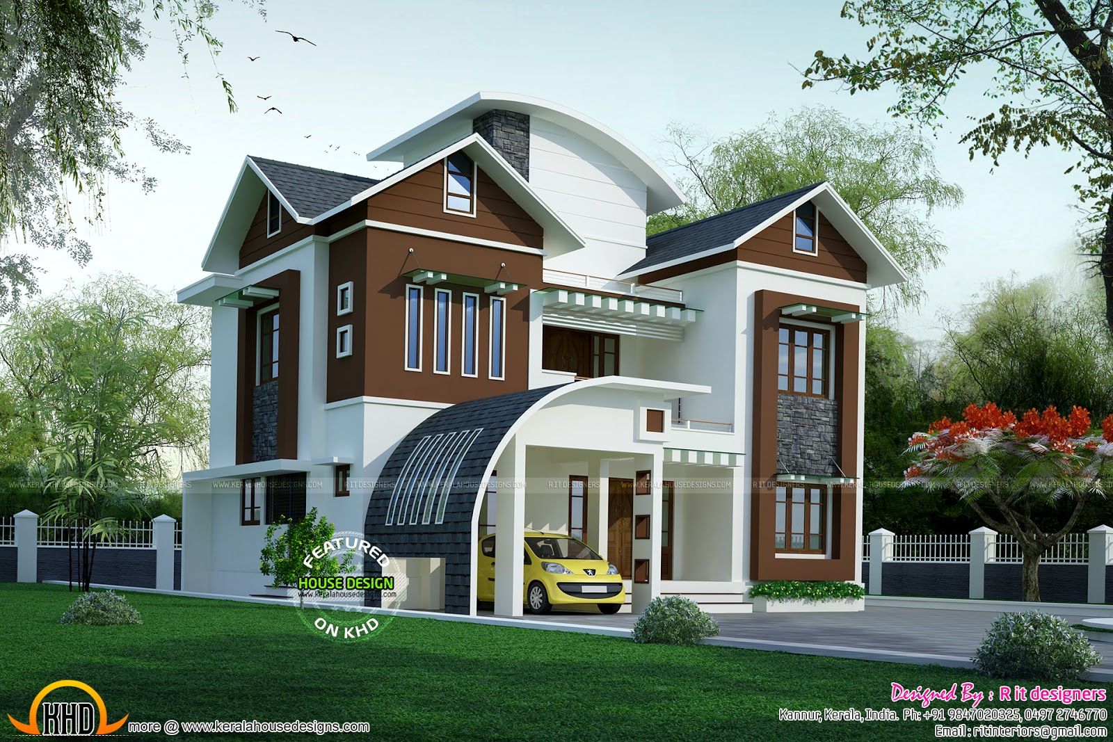 Classic single storied western model home keralahousedesigns for Car porch designs for houses