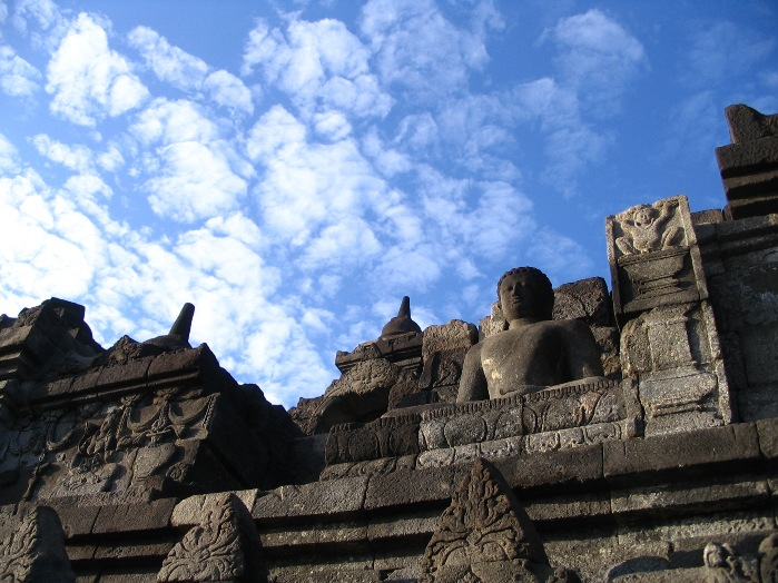 picture of borobudur in jogja java with blue sky